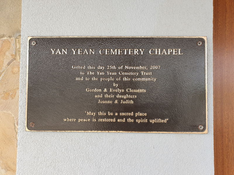 Yan Yean Cemetery Chapel Plaque
